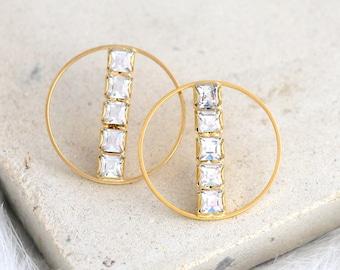 Bridal Earrings, Circle Gold Earrings, Crystal Swarovski Earrings, Trending Earrings, Gold Modern Earrings, Gift For Woman, Hoope Earrings