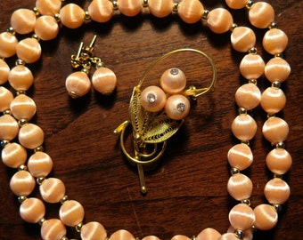 Vintage Silk Thread Champagne-Colored Necklace Set, Demi Parure with Post Earrings and Brooch!