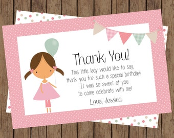 Little Lady Birthday Thank You Card, Girl Thank You Card