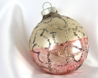 Vintage West Germany Shiny Brite Christmas Ornament - Silver and Pink with Black Mica Scribbles Christmas Ornament