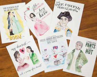 Hamiltines - Hamilton Valentine Postcards - Set of 6 Cards - Love - Anniversary - Valentine's Day - Engagement - Funny