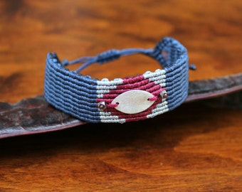Wide macrame bracelet| Braided jewelry| Micro macrame| Adjustable bracelet| Gift for her