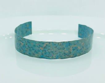 Green Blue Patina Textured adjustable Cuff Copper Bracelet