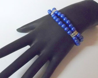 Dark Blue Bracelet,  Double Strand,  Round Faux Pears,  Bracelet on Stretchy Cord, Will fit Small to Medium Wrists