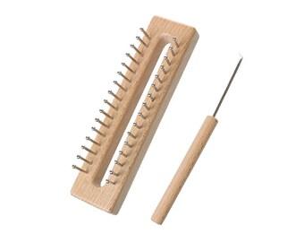 Tricotin rectangulaire en bois naturel avec aiguille