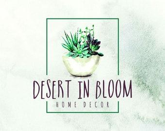 succulent premade logo, desert, premade logo