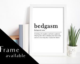 Lovely BEDGASM MEANING PRINT.home Decor.bedroom Wall Art.bedroom Print.Prints Wall  Art. Print.duvet Day.Framed Print.prints.bedroom Decor