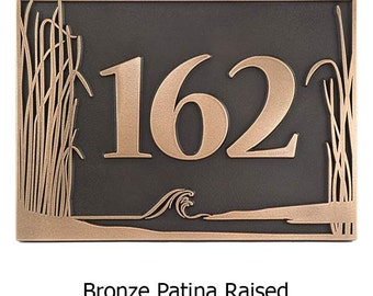 Sea Shore Scene Address Plaque Home Numbers Sign 12x8 inches Custom for you