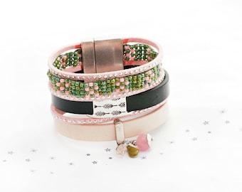 Bracelet leather weave khaki pink enamel nude powder glass beads