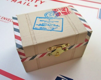 Air Mail Postal Package, Envelope Trinket / Jewelry / Engagement Ring Box from KaztielKrafts