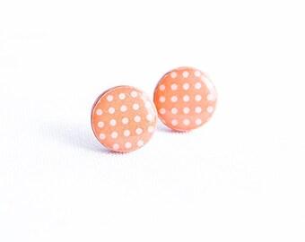 Peach stud earrings, polka dot jewelry cute stud earrings gift for women