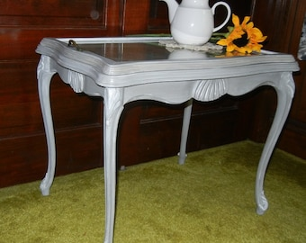 Vintage Coffee Table, Tray Table,gray Painted Table,French Provincial Table ,small