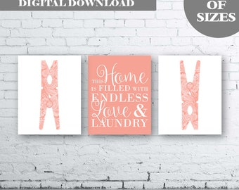 Laundry Wall Art Print. Set of Three (3)-Instant Download. Peg Wall Art. This Home is filled with Love and Laundry. Laundry Printable. Coral