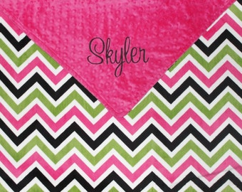 Personalized CHEVRON DOUBLE MINKY Baby Girl Stroller Blanket Pink and Green