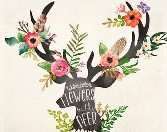 Watercolor flowers with deer head
