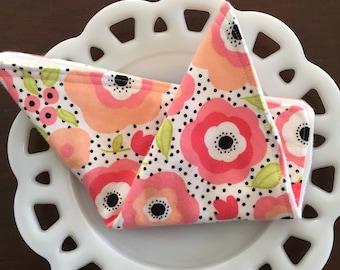Pink Floral Flannel Washcloths