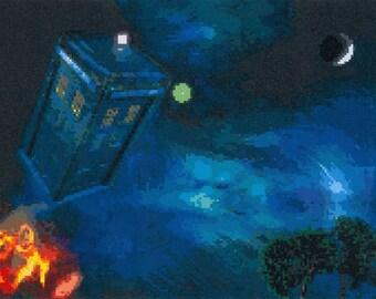 PDF Beautiful Cross Stitch Pattern - Dr Who - The Tardis (M7)