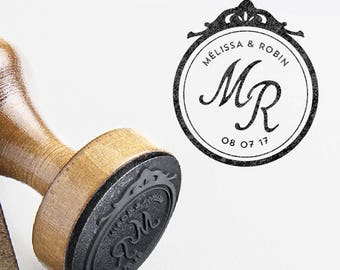 Wedding stamp personalized baroque frame names and initials