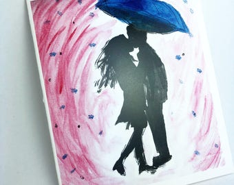 The Umbrella Lovers Watercolor Greeting Card