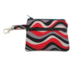 Small Zippered Wallet Change Purse Gadget Case Waves of Scarlet and Gray and Black 4455