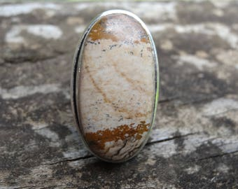 Sterling Silver Natural Picture Jasper Ring Size 6.5 - Sterling Silver - Natural Stone RING Jasper ring - Sterling Jasper ring size 6 7