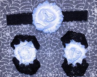 White on Black Halloween barefoot sandals with headband