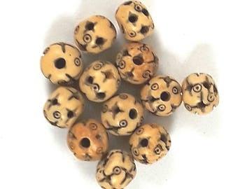 12 pc Mala Bone Beads 10mm