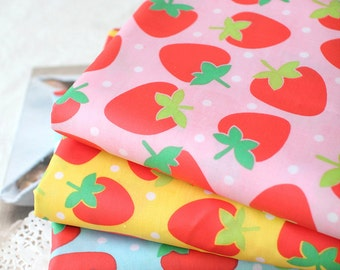 Waterproof Cotton Blend Fabric Strawberry in 3 Colors By The Yard