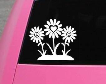 Peace, love, and happiness Hippie flowers vinyl decal bumper sticker for car, VW, truck, laptop, macbook, window, wall, Volkswagen, RV, etc.