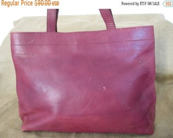 15% OFF SALE Genuine large Calvin Klein vintage brown leather shopping tote bag distressed chic