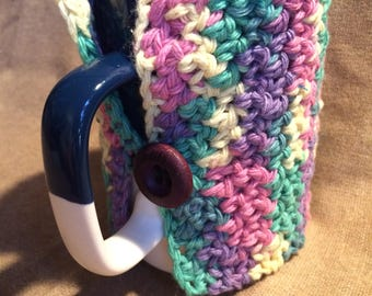 Coffe Cup Cozy for Large Mugs Crochet Cotton Rainbow Bright Yarn