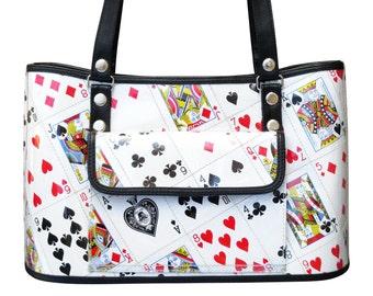 Handbag made of playing cards, FREE SHIPPING, Eco friendly bag, Recycled bag, vegan tote bag, poker player bridge casino las vegas play card