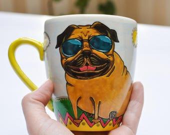 Hand painted mug, personalized coffee mug, dog coffee mug, funny dog mug, best friend coffee mug, pet lovers tea cup, tea cup mug, mug gift
