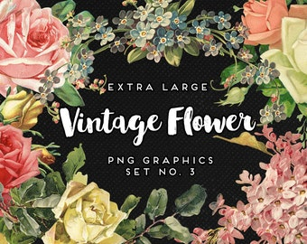 INSTANT DOWNLOAD - Vintage Roses and Flower Digital Graphics, Print, Web, Scrapbook, Design, Personal and Commercial Use-No. 3