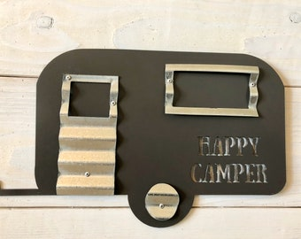 Corrugated and metal happy camper wall decor