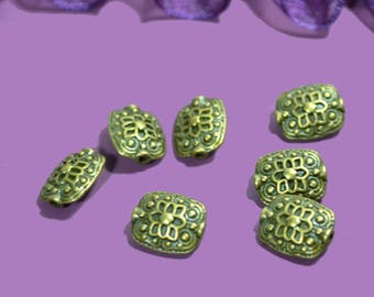 10 pearls metal bronze color 12x10mm