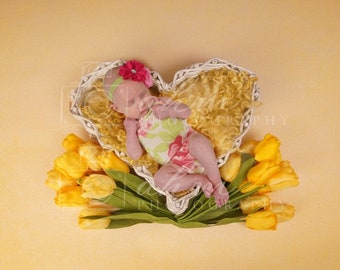DIGITAL Newborn Baby Girl Yellow Tulip Floral Above Overhead Floral Prop Backdrop. One of a kind Prop!