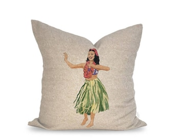 18x18in Hula Girl Linen Pillow Cover