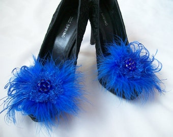 Royal Blue Lace Satin Organza Feather and Pearl Glamorous Shoe Clips Bridal Wedding Prom Races - Custom Made to Order