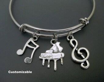 Piano Bracelet / Piano Player Bangle /  Music Teacher Bangle / Band Bracelet / Musical Note  / Treble Clef / Charm Bracelet / Adjustable