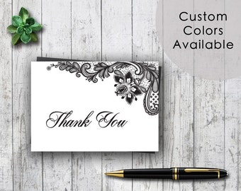 Printable Wedding Thank You Card PDF - Classic Black and White Traditional Damask Wedding Lace (Or Your Choice in Colors!) (3.5X5 Folded)