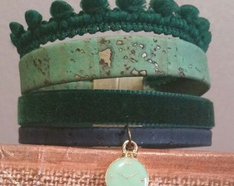 Green Velvet Cuff Bracelet and Liège