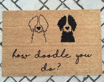 HOW DOODLE You DO? (multi doodle)//Door Mat/Goldendoodle/Labradoodle/Dog Gift/Dog Decor/Hand Painted/Dog Door Mat/Dog Saying/I Love Dogs