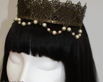 Regal Crown Lolita Medieval Tiara Headband - Bronze (MADE TO ORDER)