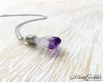 Amethyst Necklace, Wire Wrap Amethyst Point, Healing Crystal Jewelry, Gemstone Necklace, February Birthstone Necklace, Raw Amethyst Jewelry