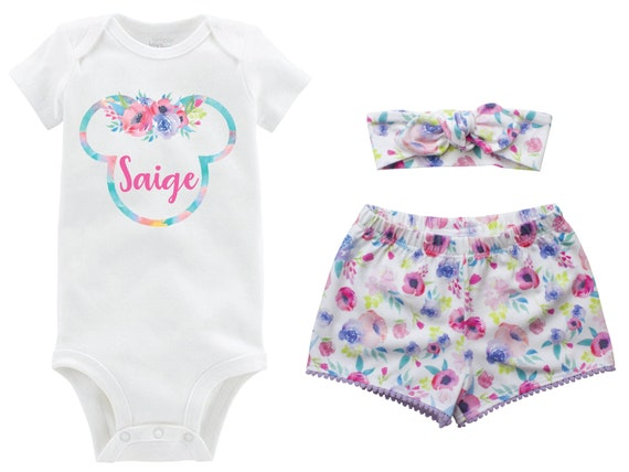 Floral Minnie Ears Personalized Outfit Shorts Headband Watercolor Floral Cinderella Castle Monogram Summer Shorts Pom Pom Shorts Outfit