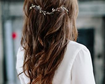 ROOT wavy moonstone bohemian bridal hair vine, delicate boho wedding headpiece