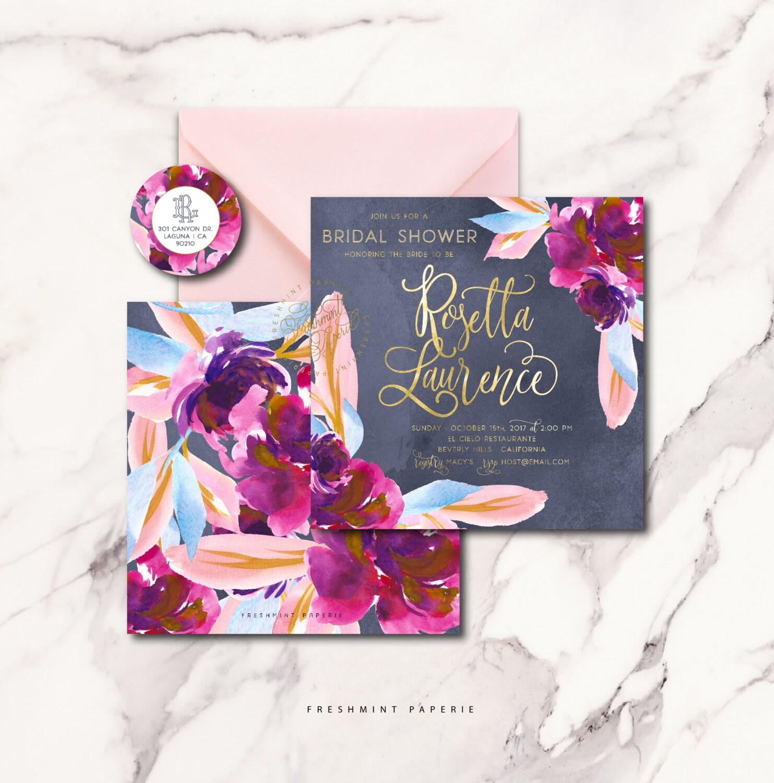 dark floral invitation romantic invitation wedding shower