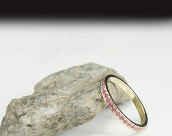 Eternity ring, pink sapphire ring, sapphire eternity, pink sapphire band, engagement ring, stacking rings, Bridal ring, padparadscha ring
