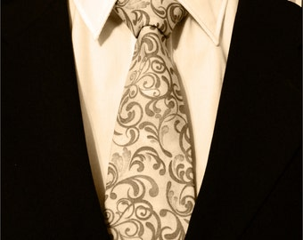 Extra Long Ties – Gray Paisley Necktie, Available as a Skinny Tie and a Extra Long Tie